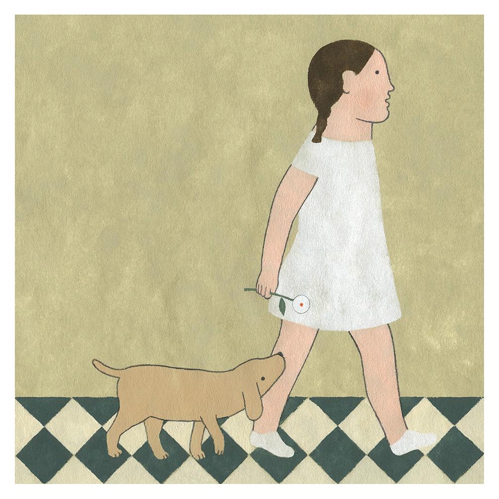 Ilustración Niña y perro de Elena Odriozola